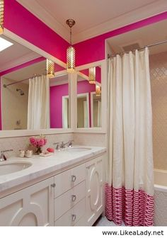 pink and white bathroom. Perfect for little girls bathroom.