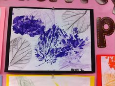 Fall leaf stamps and prints. Crayon and acrylic.