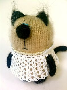 Kitten in White Dress - Hand-Knitted Miniature Amigurumi Pet Animals - Siamese Cat Fluffy Mohair - Gifts Guide