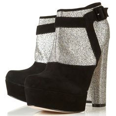 Topshop Astrid suede glitter boots