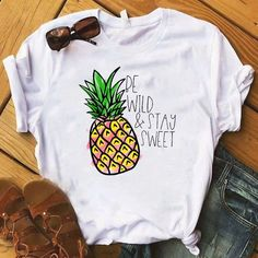 Pineapple fruits Clothing T-shirt Fashion Female Tee Top Graphic T Shirt Women Kawaii Camisas Mujer Clothes 2019 T-shirt Tumblr, Geile T-shirts, Pineapple Fruit, Pineapple Shirt, Sweet T, T Shirt World, Clothes 2019, Looks Plus Size, Direct To Garment Printer