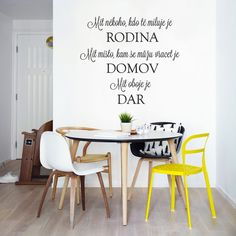 Samolepka na zeď Rodina, domov a dar, 70x50 cm Rodin, Diy And Crafts, Lettering, House, Hana, Home Decor, Tattoo, Christmas, Africa
