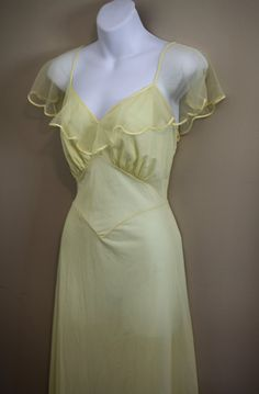 Gorgeous Vintage 30s 1940s Pale Yellow Evening Dress -- 50s 60s Burlesque Pinup Rockabilly WWII Swing --. $85.00, via Etsy.