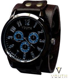 Relógio Bracelete de Couro Masculino  https://www.facebook.com/Passarella-Brasil-212170078859412/?fref=ts  #passarellabrasil  #relógiovouth #vouth