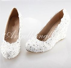 "3"" White/ Ivory lace wedding wedge, Custom any color lace wedding wedge. lace brdial wedge in handmade"