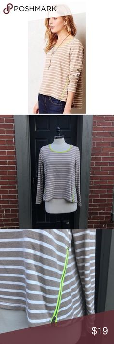 Anthropologie LILI's Closet Striped Knit Tee Size medium. Knit striped top with neon trim & zippered detailing at hem. Cotton, polyester. EUC Anthropologie Tops