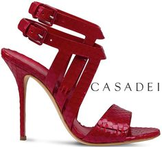 Casadei Summer Weave Resort 2014 Red Snake-Effect Leather Woven Sandals ~ Cynthia Reccord