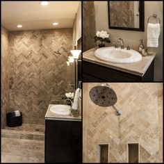 The wonderful Travertine tile bathroom