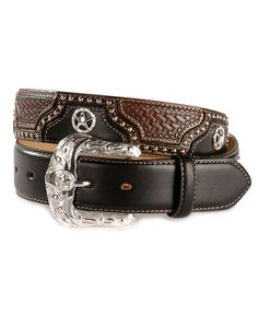 Justin Mens Texas All Star Western Belt Black