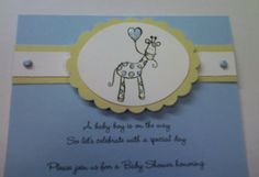 Invites for baby shower for boy by Ashley Kate Designs.  Giraffe theme.