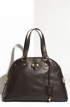 Yves Saint Laurent Large Muse Top Handle Dark Brown Bag Satchel Sacchetti  Marroni 16aec591e2bf