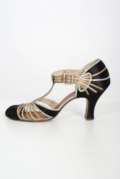 1920's Art Deco Black Silk Metallic Silver and Gold Cut Out Leather Flapper Shoes For Sale at 1stdibs