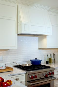 White Kitchen Hood Details Beveled Tile Backsplash High Gloss Crackle
