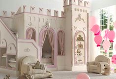Kinderbett-Babyzimmer-Schloss-Stauraum-Regale