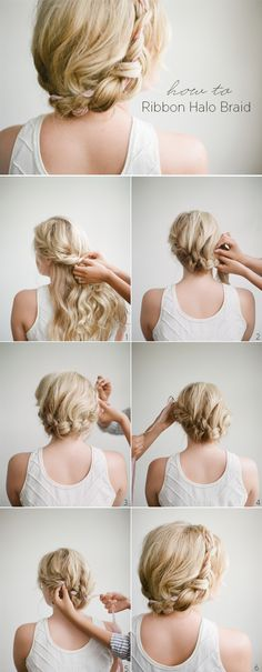 Halo braid with ribbon #braid #updo #hair #hairdo #hairstyles #hairstylesforlonghair #hairtips #tutorial #DIY #stepbystep #longhair #howto #practical #guide #wedding #bride