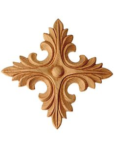 "Applique / 3-1/4""H X 3-1/4""W X 3/8""D - applique, decorative appliques, wood craft rosettes, wall appliques, floral wood carving aplique, oak carvings, appliques for sale 