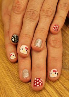 Hello Kitty Nails! Hand painted polka dots and glitter. ManiMondays: Halloween Wrap Up!