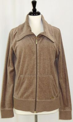 Calvin Klein Performance Quick Dry Zip Front Velour Jacket Beige Womens Size L #CalvinKlein #BasicJacket #Casual