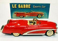"Exc 1951 Buick Le Sabre Concept Friction Tin Car W/ Box By Yonezawa Japan 8"" NR   eBay Toyota Corona, Buick Lesabre, Ford Fairlane, Tin Toys, Rare Antique, Volkswagen, Concept, Japan"