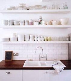 Retro Scandinavian Kitchen Design with Simple Wall Mounted Shelves Ideas - Kitchen | Stupic.com