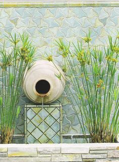 Striking and subtle, this fountain is a wonderful palette of texture and color.