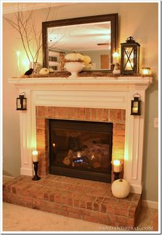 Fall Fire place! Easy way to dress up old fire place. Love the mantle so cozy looking