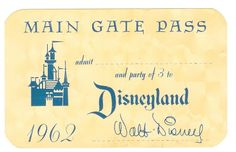 Vintage Disneyland Tickets: Main Gate Pass - 1962