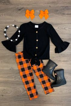 Black & Orange Plaid Tie Pant Set - Sparkle In Pink - October 05 2019 at Baby Outfits, Little Girl Outfits, Cute Outfits For Kids, Toddler Outfits, Toddler Fashion, Kids Fashion, Fashion Tips, Cute Baby Girl, Cute Baby Clothes