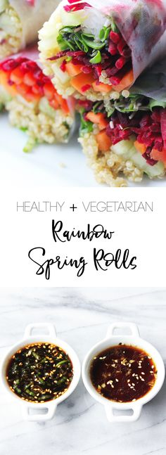 Rainbow Spring Rolls- Loaded with quinoa, carrots, beets, cucumber, and fresh herbs. The perfect effortless healthy and vegetarian meal to put together when you're in the mood for something light!