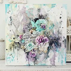 Sharing a canvas our very own Stacey Young created with Prima flowers! #dreamy #sobeautiful #homedecor #canvas