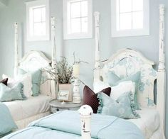 turquoise and white guest bedroom
