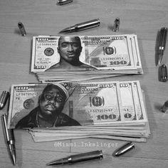 "Motive Art Company on Instagram: ""'Legends Live Forever' - Money art by @miami_inkslinger #Tupac #2pac #Biggiesmalls #Biggie _____ @inksav @inksav _____"""