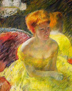 """peinture US : Mary Cassatt, """"Au théâtre"""", (détail), 1879, portrait de femme, jaune"""