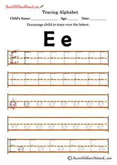 kindergarten worksheets Alphabet E e