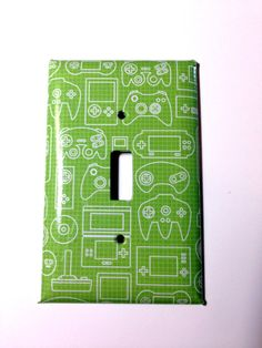 Video Game Controller Decoupaged Single Switchplate by PaperMoonC, $9.00