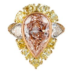 GIA Cert Pink Diamond Two Color Gold Ring | From a unique collection of vintage cocktail rings at https://www.1stdibs.com/jewelry/rings/cocktail-rings/
