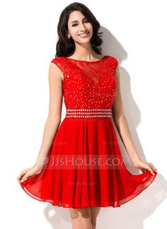 [US$ 127.49] A-Line/Princess Scoop Neck Short/Mini Chiffon Lace Homecoming Dress With Beading Sequins (022053568)