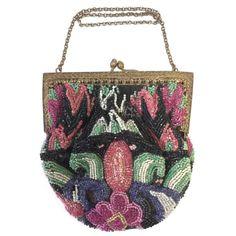 Antique 1890-1900 Art Nouveau Floral Beaded Evening Purse