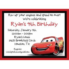 Disney Cars Lightning McQueen Birthday Invitations