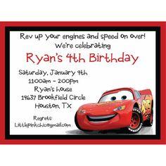 Disney Cars Lightning McQueen Birthday Invitations Pixar Parties 3rd