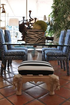 Elephant #stool with striped #upholstery and #zebra inspired #dining vignette at at #Mecox #PalmBeach #interiordesign #MecoxGardens #furniture #shopping #home #decor #design #room #designdiea #vintage #antiques #garden