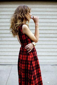 Chiara Ferragni in a black and red plaid dress.