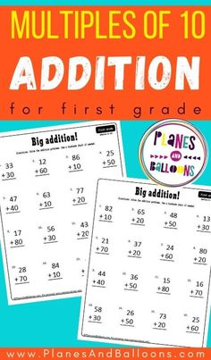 First grade math worksheets - addition to 100 free printable grade 1. #firstgrade #planesandballoons First Grade Math Worksheets, Addition Worksheets, Number Worksheets, Free Printable Worksheets, Kindergarten Worksheets, Math Activities, Free Printables, Help Teaching, Teaching Math