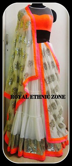 ORANGE BLOUSE WITH WHITE LEHENGA FABRIC- NET, SILK EMBROIDERY- SEQUENCE WORK
