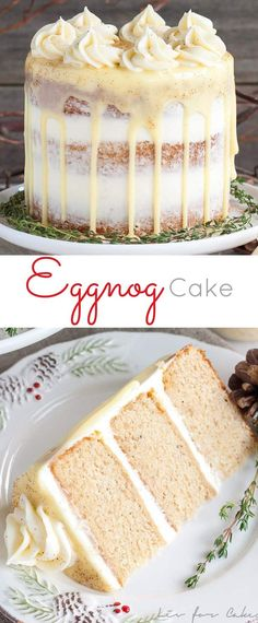 This rum spiked Eggnog Cake with cream cheese frosting and white chocolate ganac., Desserts, This rum spiked Eggnog Cake with cream cheese frosting and white chocolate ganache is just the thing to warm you up this Holiday season! Eggnog Cake, Eggnog Recipe, Eggnog Cupcakes, Holiday Baking, Christmas Baking, Food Cakes, Cupcake Cakes, Baking Cakes, Muffin Cupcake
