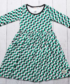 Love this Green & Black Vintage Print Dress - Infant, Toddler & Kids by Kids Fly Too on #zulily! #zulilyfinds