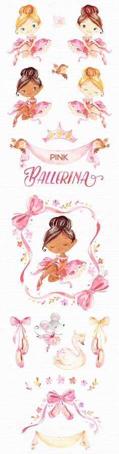 This Pink Ballerina watercolor set is just what you needed for the perfect invitations, craft projects, paper products, party decorations, printable, greetings cards, posters, stationery, scrapbooking, stickers, t-shirts, baby clothes, web designs and much more. :::::: DETAILS ::::::