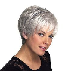Layered Short Inclined Bang Straight Capless Human Hair Wig (COLORMIX) in Capless Wigs | DressLily.com
