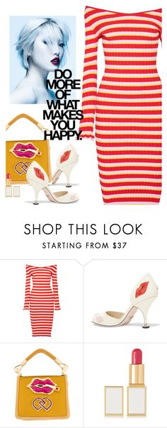 """""""Do more of what makes you happy"""" by juliehooper ❤ liked on Polyvore featuring Altuzarra, Prada, Dsquared2, Tom Ford, stripes, lips, polyvoreeditorial and whatmakesyouhappy"""