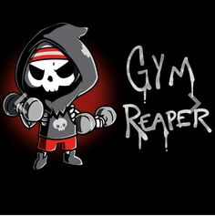 Get the black Gym Reaper t-shirt only at TeeTurtle! Cute Cartoon Drawings, Cute Animal Drawings, Arte Obscura, Dibujos Cute, Guache, Cute Tshirts, Nerdy Shirts, Arte Horror, Cute Chibi